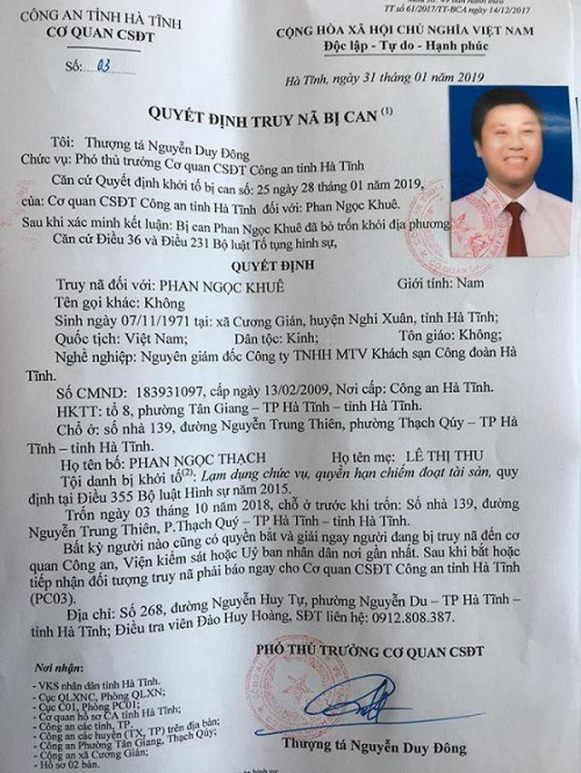 Hà Tĩnh: Giám đốc doanh nghiệp Nhà nước đầu thú sau hơn 1 tháng trốn nã ảnh 1