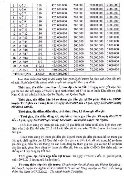 Ngày 30/3/2019, đấu giá quyền sử dụng 37 lô đất tại huyện Tư Nghĩa, tỉnh Quảng Ngãi ảnh 2