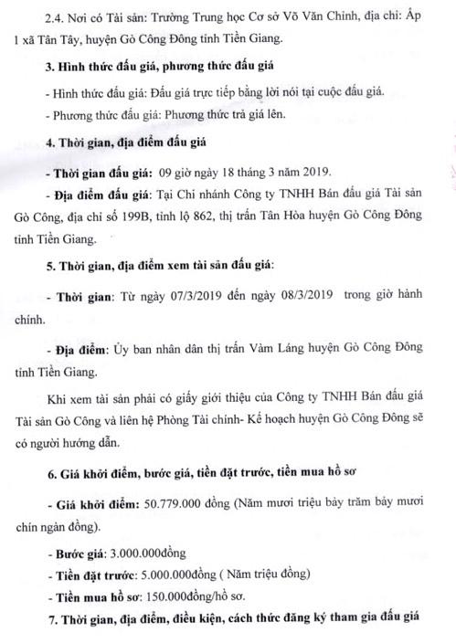 Ngày 18/3/2019, đấu giá 8 phòng học của Trường THCS Võ Văn Chính (tỉnh Tiền Giang) ảnh 2