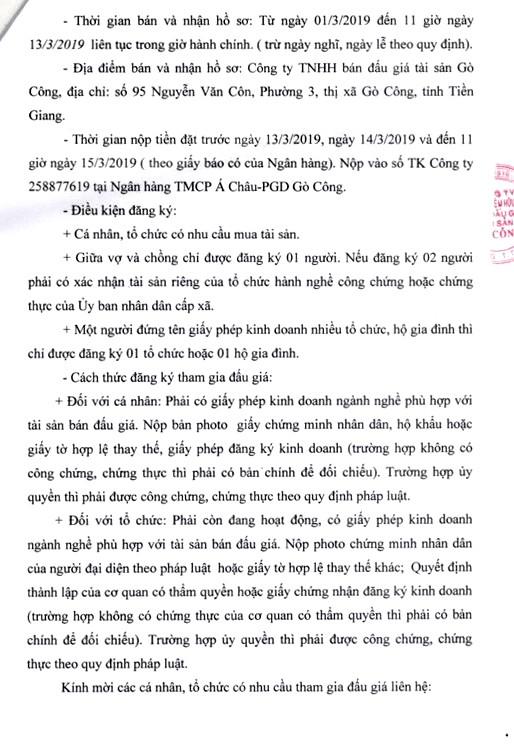 Ngày 18/3/2019, đấu giá 8 phòng học của Trường THCS Võ Văn Chính (tỉnh Tiền Giang) ảnh 3