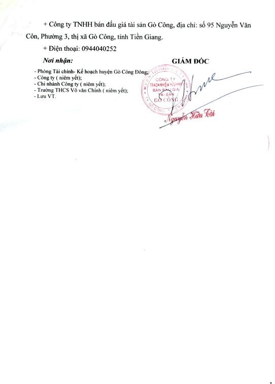 Ngày 18/3/2019, đấu giá 8 phòng học của Trường THCS Võ Văn Chính (tỉnh Tiền Giang) ảnh 4