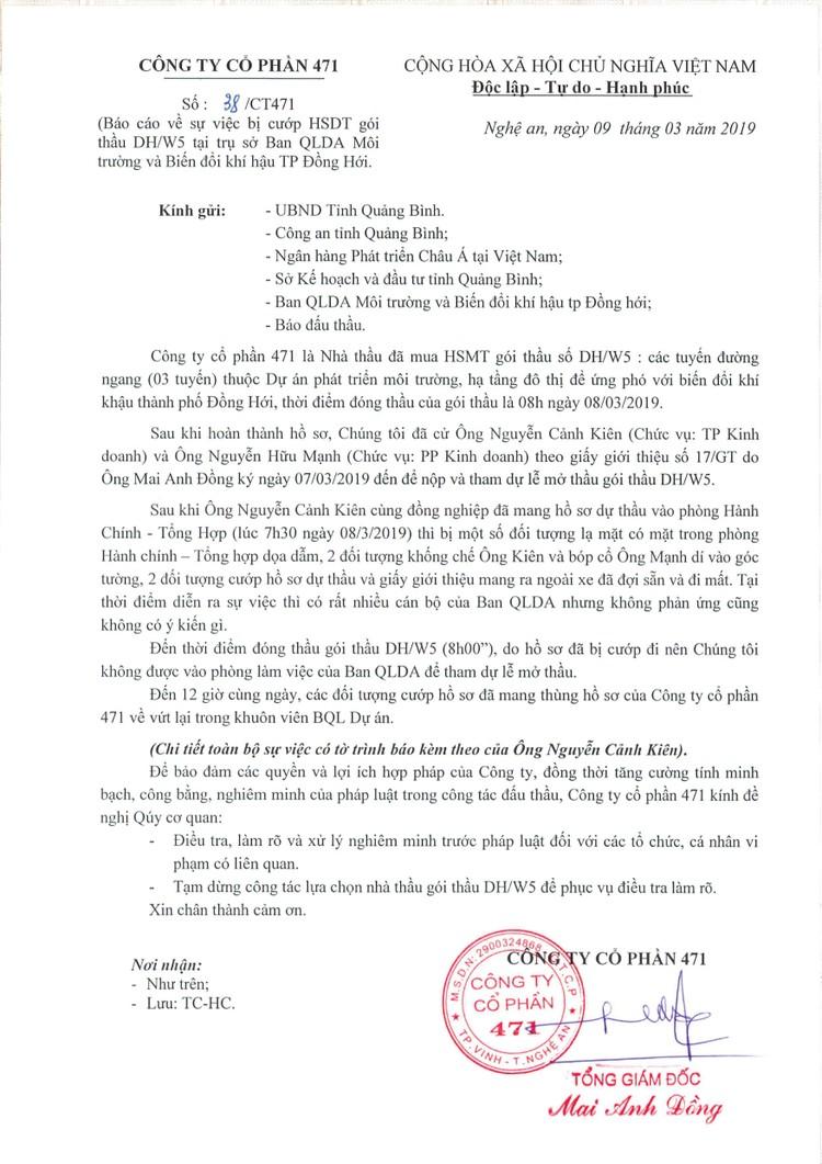 Vụ cướp HSDT tại Quảng Bình: 4 nhà thầu nộp hồ sơ trót lọt là ai? ảnh 1