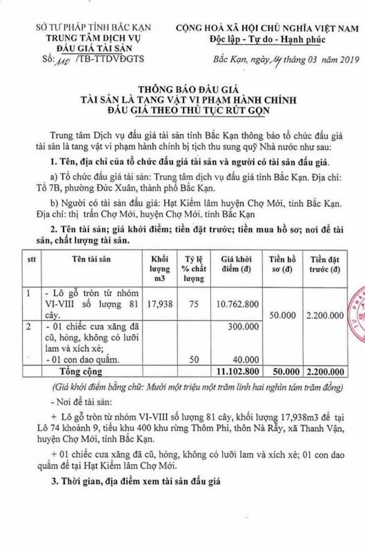 Ngày 22/3/2019, đấu giá lô gỗ tròn và dụng cụ tại tỉnh Bắc Kạn ảnh 1