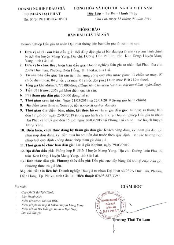 Ngày 29/03/2019, đấu giá tài sản tịch thu sung công quỹ tại tỉnh Gia Lai ảnh 1
