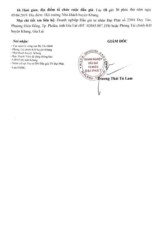 Ngày 5/4/2019, đấu giá quyền sử dụng đất tại huyện Kbang, tỉnh Gia Lai ảnh 2