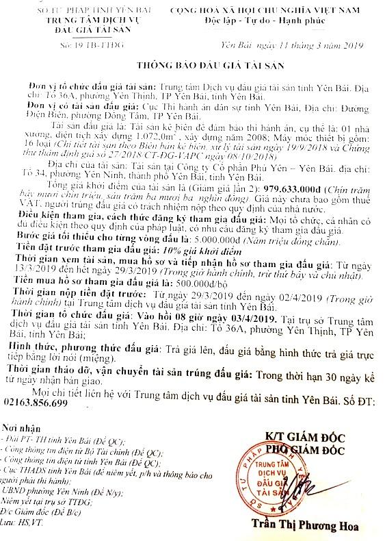 Ngày 3/4/2019, đấu giá nhà xưởng và máy móc thiết bị tại tỉnh Yên Bái ảnh 1