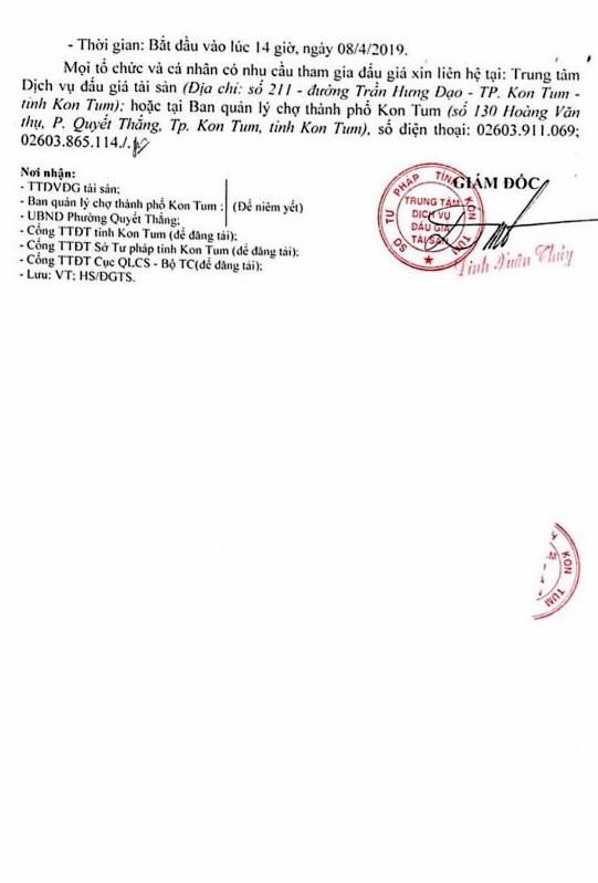 Ngày 8/4/2019, đấu giá quyền sử dụng gian hàng kinh doanh tại tỉnh Kon Tum ảnh 3