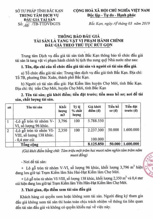 Ngày 28/3/2019, đấu giá lô gỗ tròn tại tỉnh Bắc Kạn ảnh 1