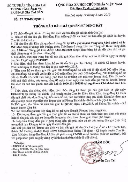 Ngày 12/4/2019, đấu giá quyền sử dụng đất tại huyện Chư Sê, tỉnh Gia Lai ảnh 1