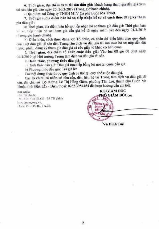 Ngày 4/4/2019, đấu giá máy móc thiết bị, phương tiện vận tải truyền dẫn tại tỉnh Đắk Lắk ảnh 2