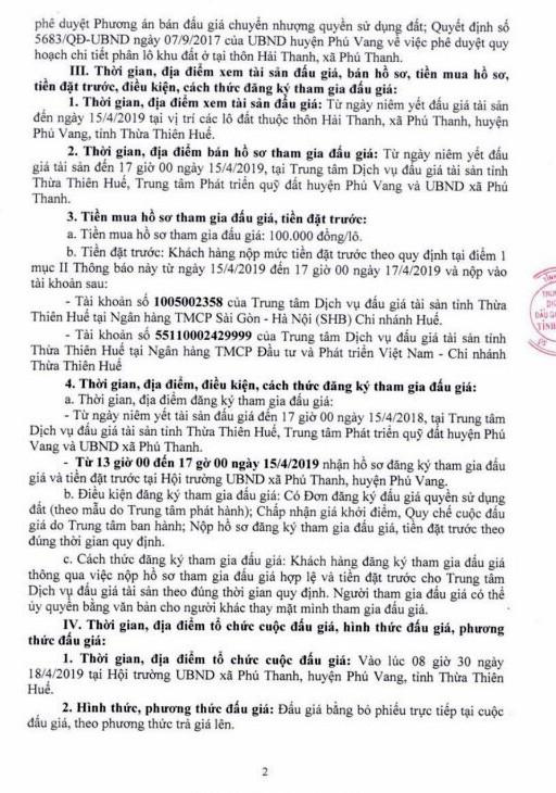 Ngày 18/4/2019, đấu giá quyền sử dụng đất tại huyện Phú Vang, tỉnh Thừa Thiên Huế ảnh 2