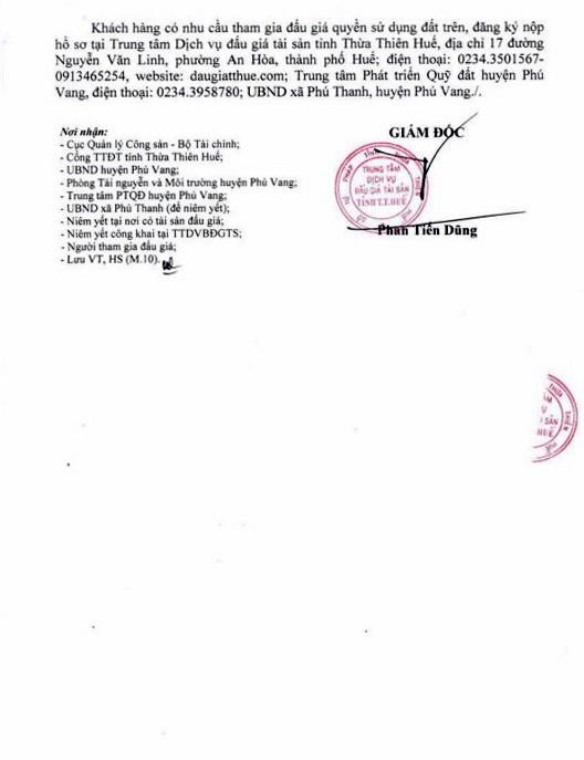 Ngày 18/4/2019, đấu giá quyền sử dụng đất tại huyện Phú Vang, tỉnh Thừa Thiên Huế ảnh 3