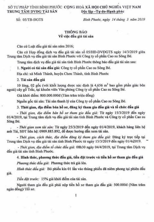 Ngày 4/4/2019, đấu giá 10 lóng, 2 gốc gỗ tại tỉnh Bình Phước ảnh 1