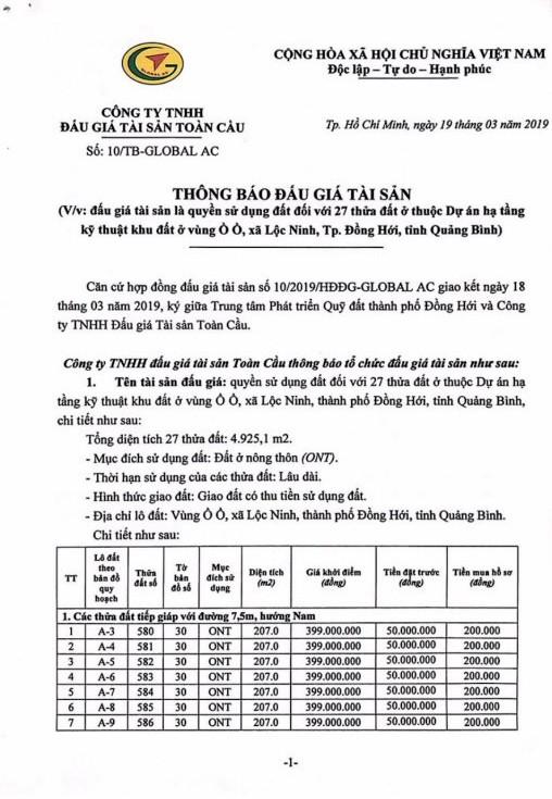 Ngày 9/4/2019, đấu giá quyền sử dụng 27 thửa đất tại thành phố Đồng Hới, tỉnh Quảng Bình ảnh 1