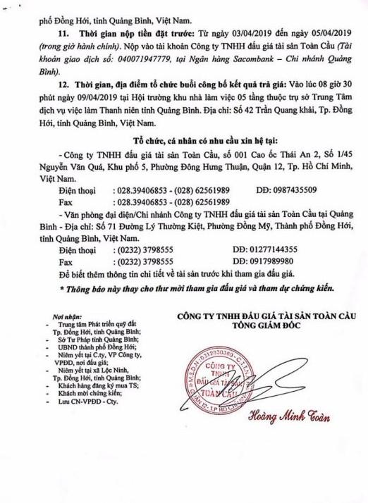 Ngày 9/4/2019, đấu giá quyền sử dụng 27 thửa đất tại thành phố Đồng Hới, tỉnh Quảng Bình ảnh 4