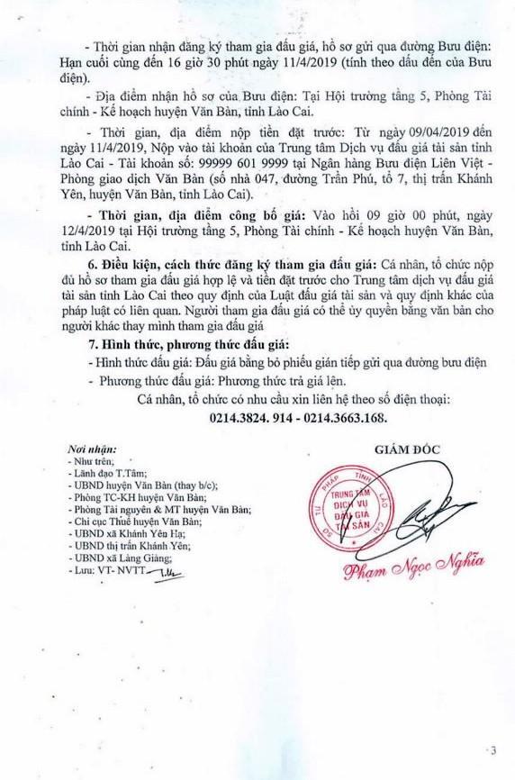 Ngày 12/4/2019, đấu giá quyền sử dụng đất tại huyện Văn Bàn, tỉnh Lào Cai ảnh 3