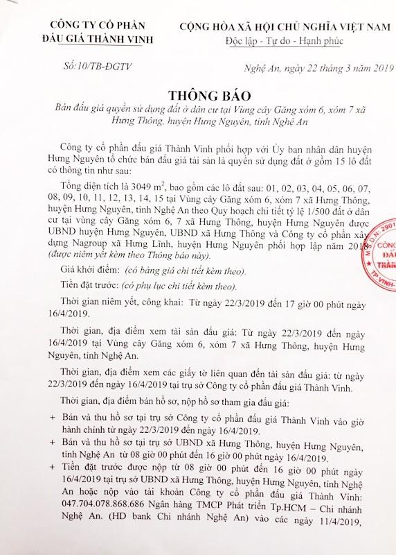 Ngày 19/4/2019, đấu giá quyền sử dụng đất tại huyện Hưng Nguyên, tỉnh Nghệ An ảnh 1