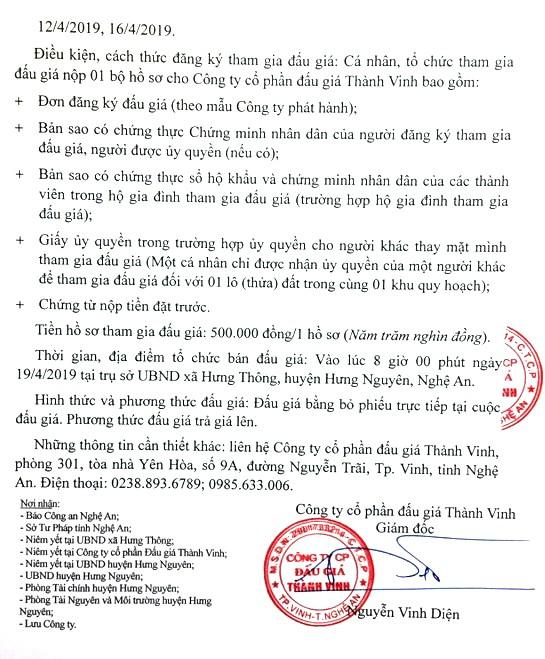 Ngày 19/4/2019, đấu giá quyền sử dụng đất tại huyện Hưng Nguyên, tỉnh Nghệ An ảnh 2
