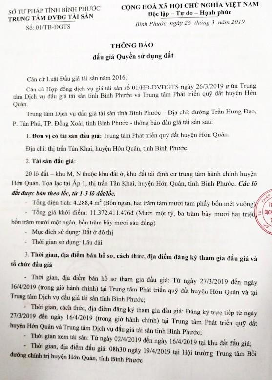 Ngày 19/4/2019, đấu giá quyền sử dụng 20 lô đất tại huyện Hớn Quảng, tỉnh Bình Phước ảnh 1