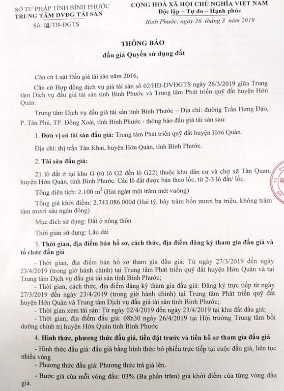 Ngày 26/4/2019, đấu giá quyền sử dụng 21 lô đất tại huyện Hớn Quảng, tỉnh Bình Phước ảnh 1