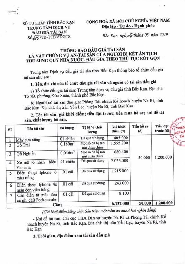 Ngày 5/4/2019, đấu giá tài sản tịch thu sung quỹ nhà nước tại tỉnh Bắc Kạn ảnh 1