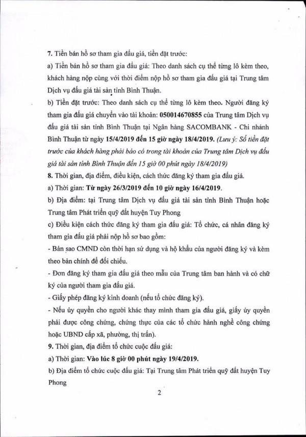 Ngày 19/4/2019, đấu giá quyền sử dụng 111 lô đất tại huyện Tuy Phong, tỉnh Bình Thuận ảnh 2
