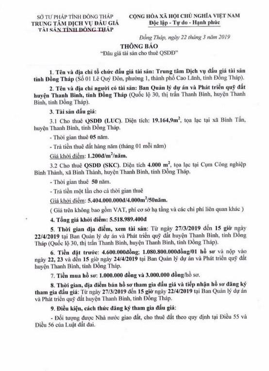 Ngày 25/4/2019, đấu giá quyền sử dụng đất tại huyện Thanh Bình, tỉnh Đồng Tháp ảnh 1