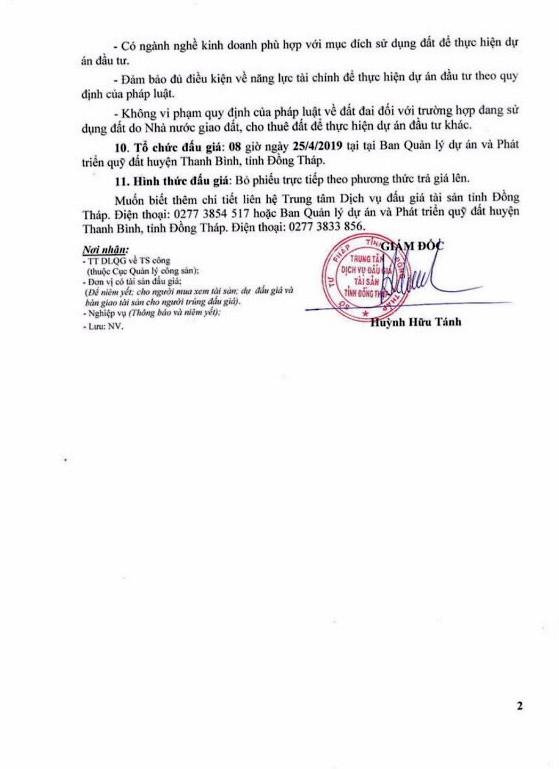 Ngày 25/4/2019, đấu giá quyền sử dụng đất tại huyện Thanh Bình, tỉnh Đồng Tháp ảnh 2