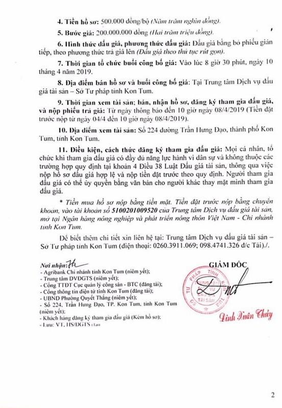 Ngày 10/4/2019, đấu giá quyền sử dụng đất và tài sản gắn liền với đất tại thành phố Kon Tum, tỉnh Kon Tum ảnh 2