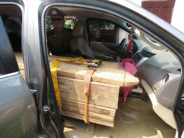 Quảng Bình: Bắt xe bán tải lắp biển giả, vận chuyển gỗ lậu ảnh 2