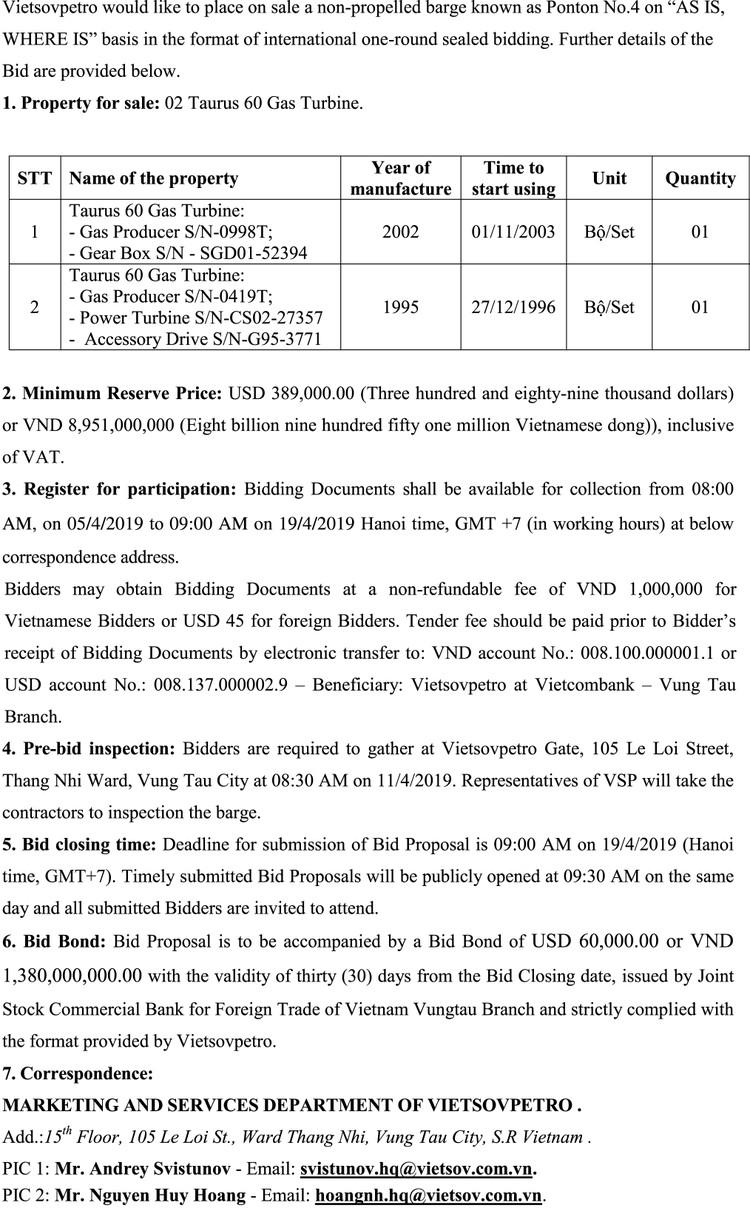 Ngày 19/4/2019, đấu giá 2 Taurus 60 Gas Turbine thanh lý tại tỉnh Bà Rịa Vũng Tàu ảnh 2