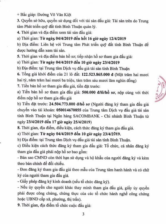 Ngày 26/4/2019, đấu giá quyền sử dụng đất 21 lô đất tại thành phố Phan Thiết, tỉnh Bình Thuận ảnh 3