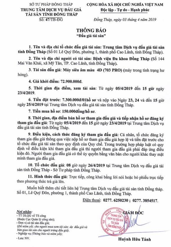 Ngày 26/4/2019, đấu giá máy siêu âm màu 4D tại tỉnh Đồng Tháp ảnh 1