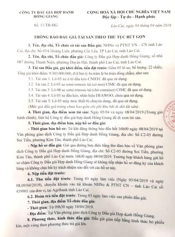 Ngày 10/4/2019, đấu giá lô xe ô tô tải, đầu kéo, rơ mooc và lô máy móc thiết bị tại tỉnh Lào Cai ảnh 1