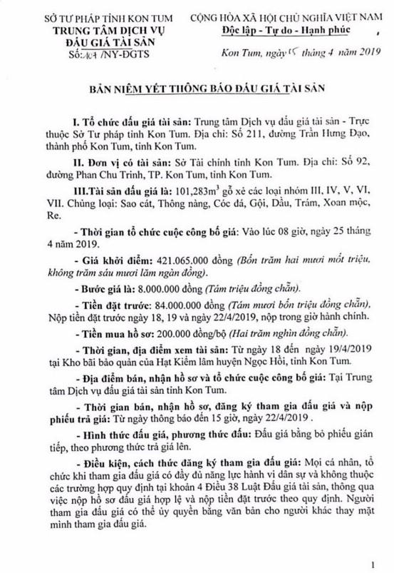Ngày 25/4/2019, đấu giá 101,283 m3 gỗ xẻ tại tỉnh Kon Tum ảnh 1