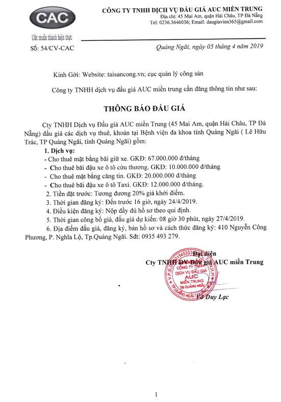 Ngày 27/4/2019, đấu giá các dịch vụ thuê khoán tại Bệnh viện đa khoa tỉnh Quảng Ngãi ảnh 1