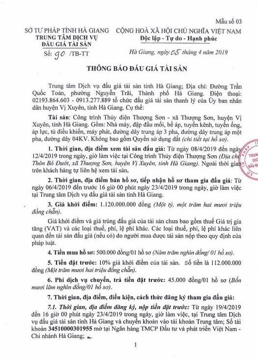 Ngày 26/4/2019, đấu giá công trình thủy điện Thượng Sơn tại huyện Vị Xuyên, tỉnh Hà Giang ảnh 1