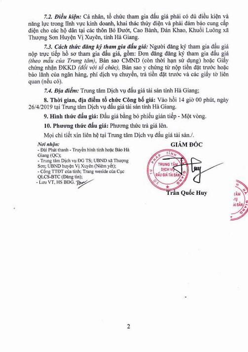 Ngày 26/4/2019, đấu giá công trình thủy điện Thượng Sơn tại huyện Vị Xuyên, tỉnh Hà Giang ảnh 2