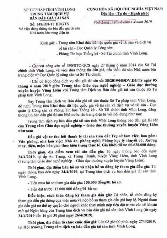 Ngày 27/4/2019, đấu giá vật tư thu hồi thanh lý tài sản tại tỉnh Vĩnh Long ảnh 1