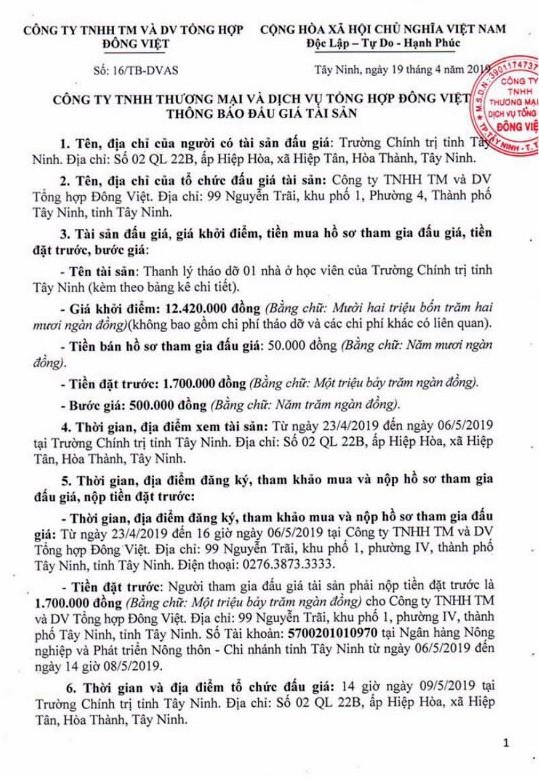Ngày 9/5/2019, đấu giá thanh lý vật liệu tháo dỡ tại tỉnh Tây Ninh ảnh 1