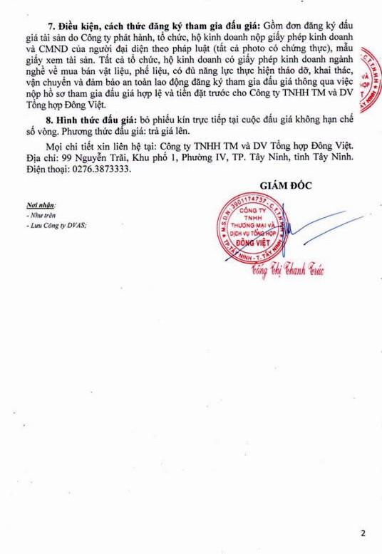 Ngày 9/5/2019, đấu giá thanh lý vật liệu tháo dỡ tại tỉnh Tây Ninh ảnh 2