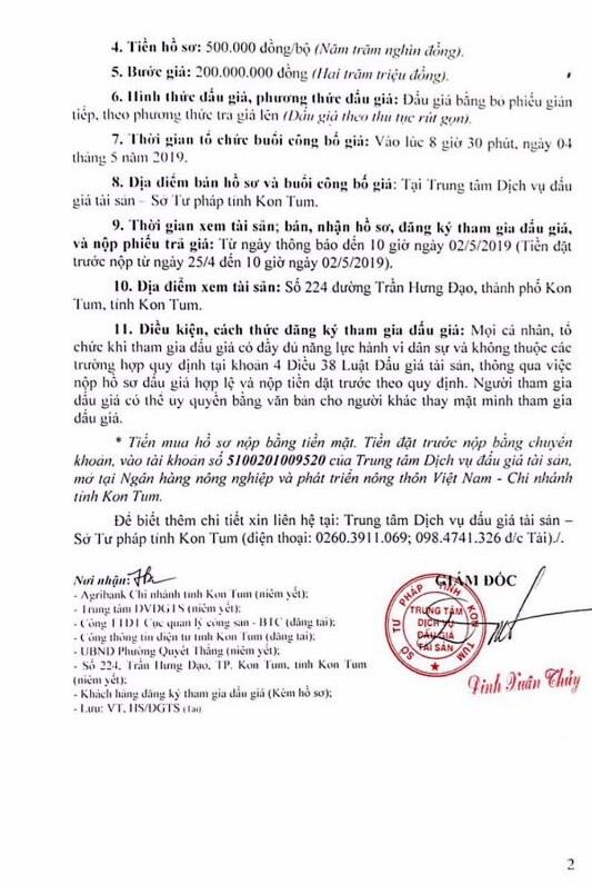 Ngày 4/5/2019, đấu giá quyền sử dụng đất và tài sản trên đất tại thành phố Kon Tum, tỉnh Kon Tum ảnh 2