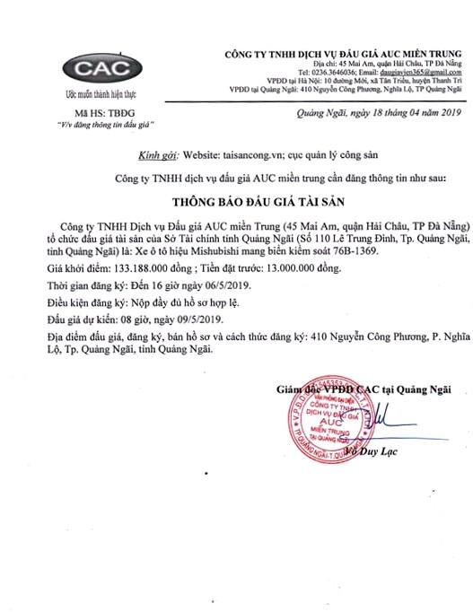 Ngày 9/5/2019, đấu giá xe ô tô Mishubishi tại tỉnh Quảng Ngãi ảnh 1