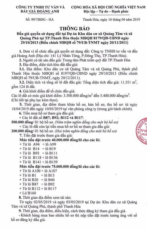 Ngày 13/5/2019, đấu giá quyền sử dụng đất tại thành phố Thanh Hóa, tỉnh Thanh Hóa ảnh 1