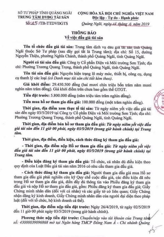Ngày 6/5/2019, đấu giá lô máy móc thiết bị tại tỉnh Quảng Ngãi ảnh 1