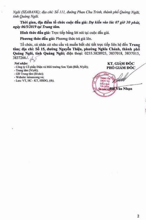 Ngày 6/5/2019, đấu giá lô máy móc thiết bị tại tỉnh Quảng Ngãi ảnh 2