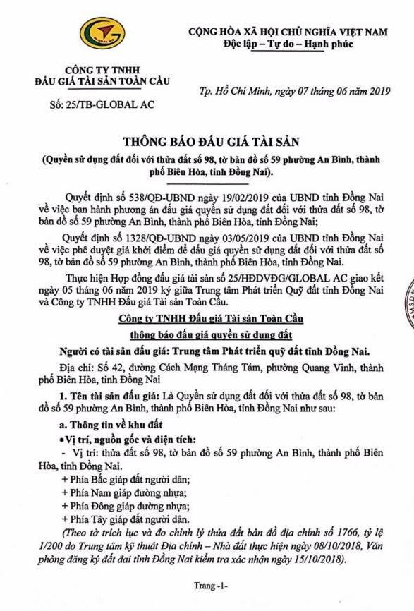 Ngày 5/7/2019, đấu giá quyền sử dụng đất tại thành phố Biên Hòa, tỉnh Đồng Nai ảnh 1