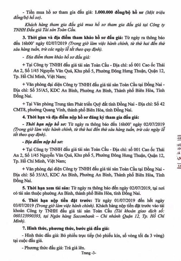 Ngày 5/7/2019, đấu giá quyền sử dụng đất tại thành phố Biên Hòa, tỉnh Đồng Nai ảnh 3
