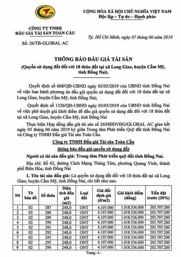 Ngày 4/7/2019, đấu giá quyền sử dụng 18 thửa đất tại huyện Cẩm Mỹ, tỉnh Đồng Nai ảnh 1