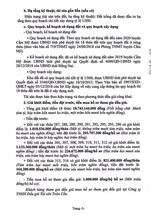 Ngày 4/7/2019, đấu giá quyền sử dụng 18 thửa đất tại huyện Cẩm Mỹ, tỉnh Đồng Nai ảnh 3